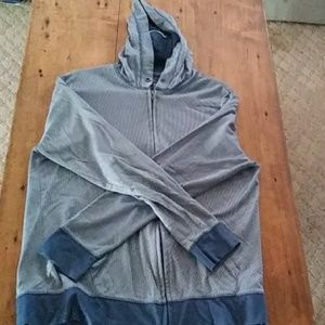 Mens Large Blue and White Striped Zip-Up Sweater